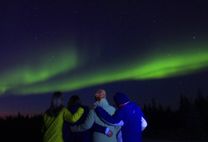 Group Looking At Northern Lights In Churchill Manitoba