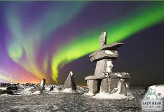 Northern Lights With Attraction In Churchill Manitoba